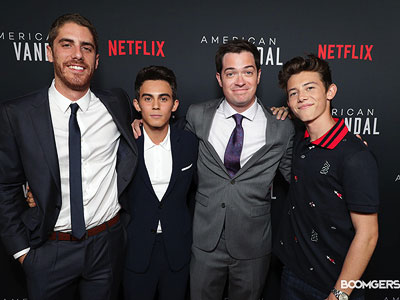 Tony Yacenda, Tyler Alvaraz, Dan Perrault, and Griffin Gluck at the premiere of <i>American Vandal</i>.